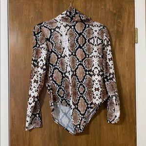 Snakeskin turtleneck body suit